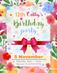 Birthday Party Invitation Template Flyer (US-Letter)