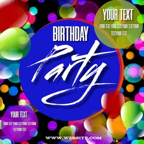 BIRTHDAY PARTY INVITATION SOCIAL MEDIA DESIGN Persegi (1:1) template