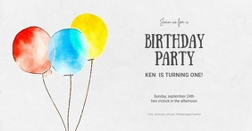 Birthday Party Invitation Template Imagen Compartida en Facebook