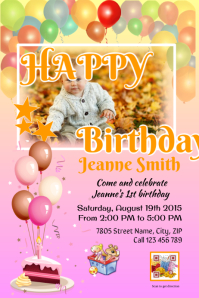 Printable birthday party invitation card (Pink)