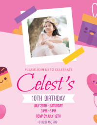 birthday party INVITE Design Template Flyer (US Letter)