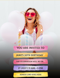 birthday party INVITE Design Template Ulotka (US Letter)