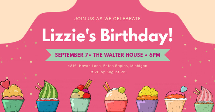 Birthday Party Invite Facebook Event Cover template