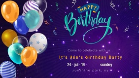 Birthday party motion flyer balloons Pantalla Digital (16:9) template