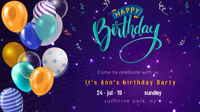 Birthday party motion flyer balloons Digitale display (16:9) template
