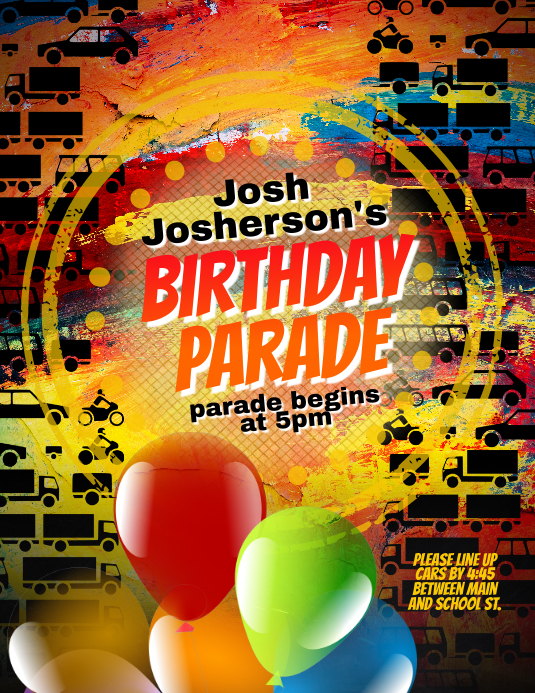 Birthday Party Parade Social Distance Invite Flyer (US Letter) template