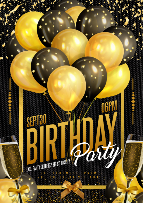 BIRTHDAY PARTY POSTER A4 template