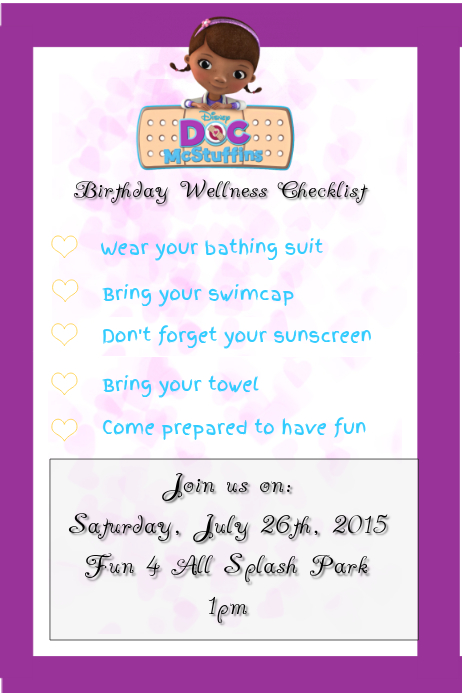 Doc McStuffins Birthday Party Customize Template