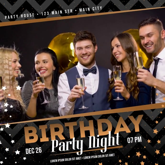BIRTHDAY PARTY VIDEO BANNER template