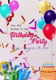 Birthday party video invitation A5 template