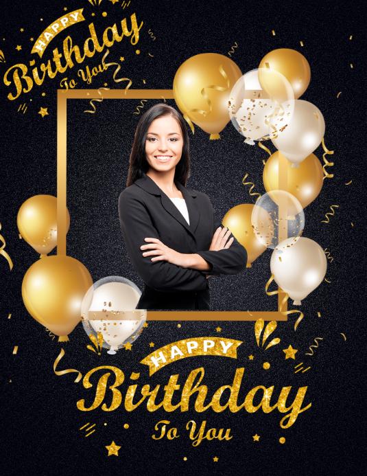 Birthday Poster Volante (Carta US) template