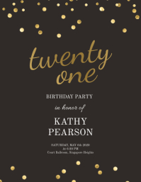 birthday sequins gold and black flyer