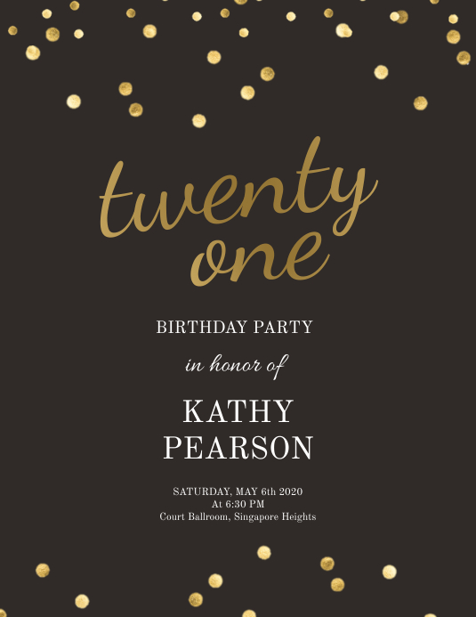 birthday sequins gold and black flyer Pamflet (Letter AS) template