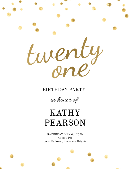 birthday sequins gold and white flyer