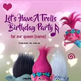 birthday trolls invitation card