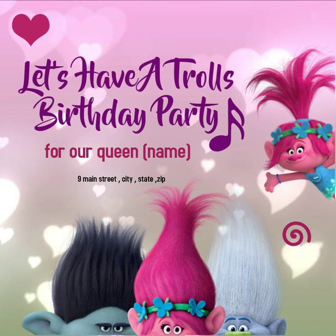 birthday trolls invitation card