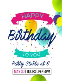 Birthday Video Ad Template Flyer (US Letter)