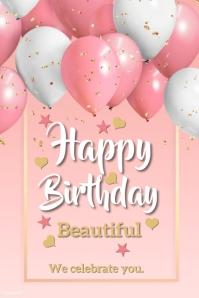 Birthday wish card Плакат template