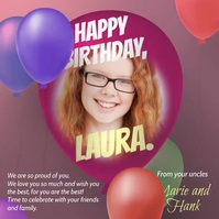 Birthday wishes balloon animation video card Message Instagram template