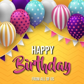 Birthday Wishes card Design Template Square (1:1)