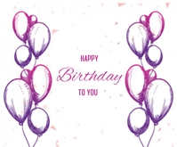 Birthday with Balloons Sketch Background Medium Reghoek template