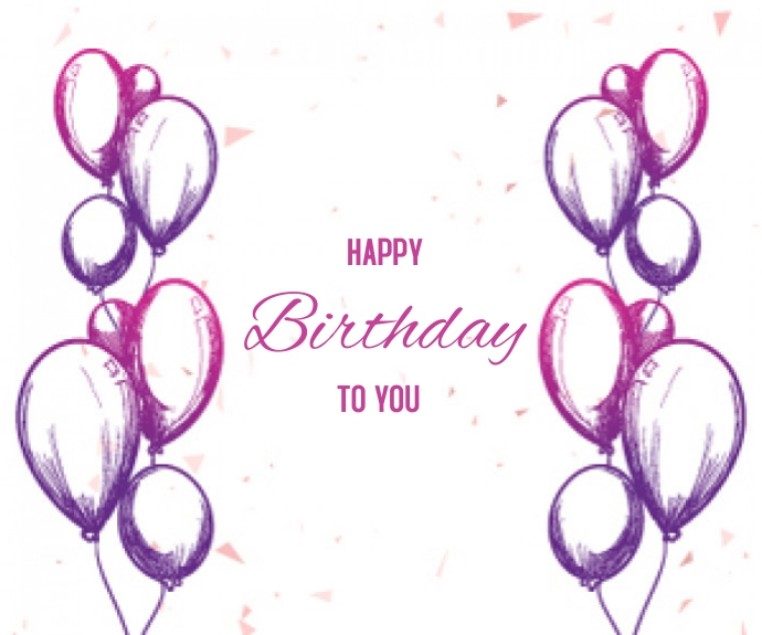 Birthday with Balloons Sketch Background สามเหลี่ยมขนาดกลาง template