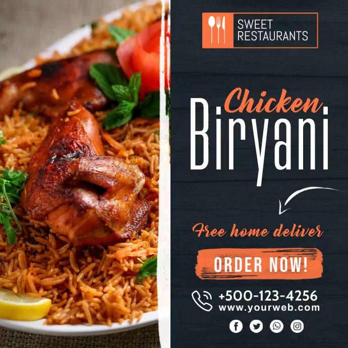 Biryani Restaurant Flyer Template Instagram-Beitrag