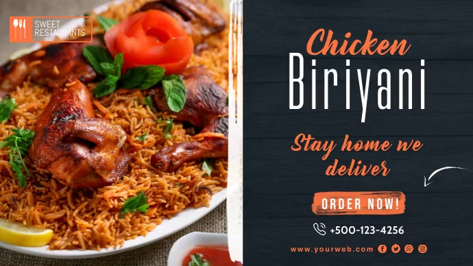 Biryani Restaurant Twitter Post Template