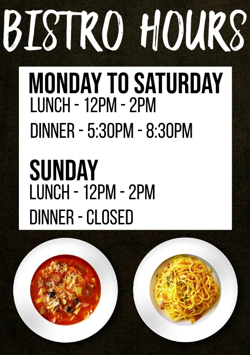 Bistro Opening Hours A1 template