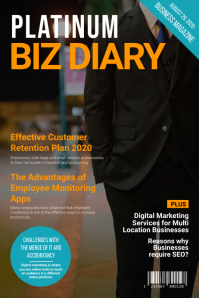 Biz diary business magazine cover Poster template