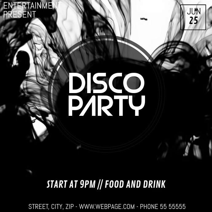 Black&white Disco party video flyer template