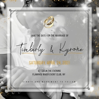 Black & Gold African American Wedding Instagr Post Instagram template