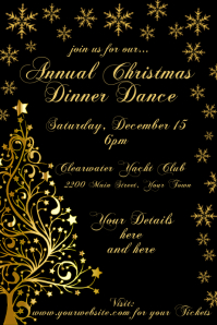 Black & Gold Christmas Invitation