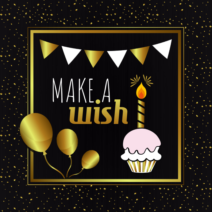Black Golden Birthday Wish Instagram Post Template