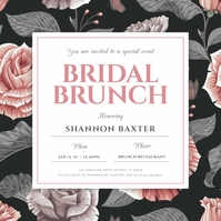 Black & Pink Bridal Brunch Invitation Wpis na Instagrama template
