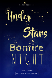 Black & Blue Bonfire Night Template