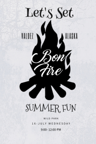 Black & White Bonfire poster Template