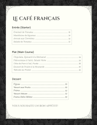 Black & White French Menu Card Template