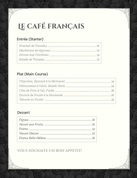 black  u0026 white french menu card template