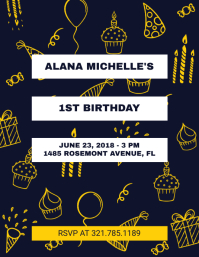 Black 1st Birthday Flyer Template