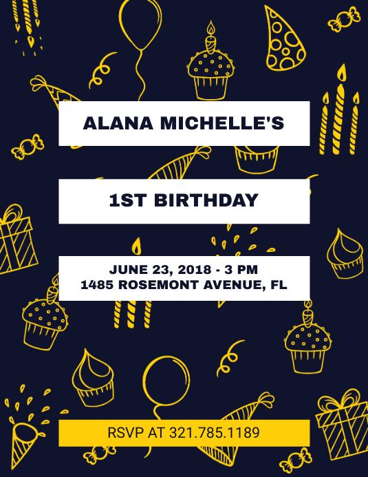 Black 1st Birthday Flyer Template Pamflet (Letter AS)
