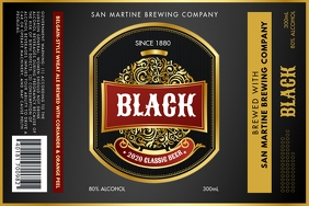 Black Alcohol Beer Label template