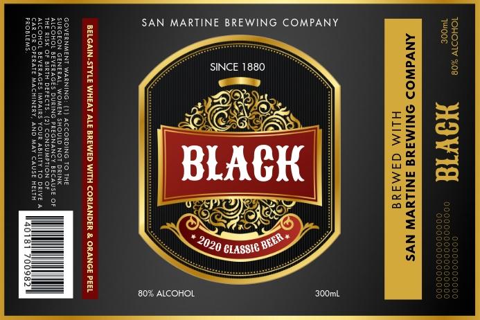 Black Alcohol Beer Label Etiket template