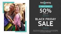 Black and blue Black Friday sale Twitter post template