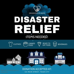 Black and Blue Disaster Relief Square Video