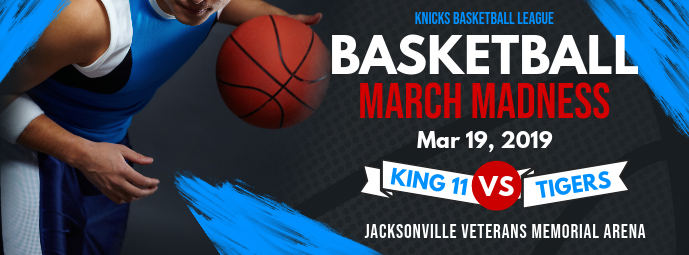 Black and Blue March Madness Facebook Cover template