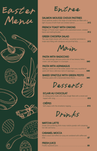 Black and Brown Easter Menu