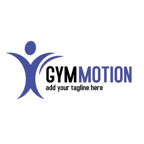 black and dark blue gym logo