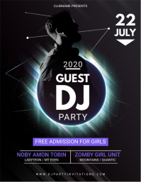 Black and Glossy DJ Party Invitation Flyer