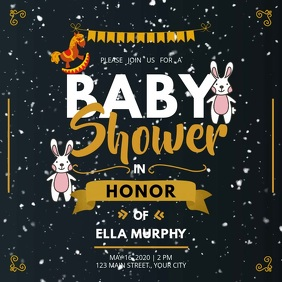 Black and Gold Baby Shower Square Video Quadrato (1:1) template